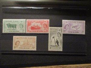 Falkland Islands, 1955, S# 122-25 & 127,  5v (ex 126) all MNH OG vf whole