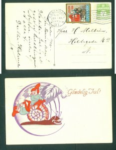 Denmark. Christmas Card 1928 With Seal +7 Ore. Copenhagen. Santa,Playing,Snail.