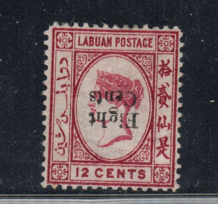 Labuan #14b (SG #15b) Extra Fine Mint Inverted Surcharge Full Original Gum Hinge
