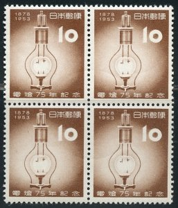 Japan Scott 577 MVFNHOG - 1st Electric Lamp in Japan Block of 4 - SCV $25.00