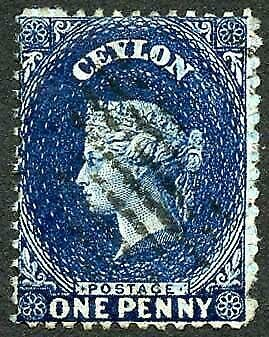 Ceylon SG63 1d Dull Blue wmk Crown CC 21.5 mm Cat 18 pounds