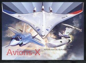 Burundi 1285 MNH X-traterrestrial Aircraft Souvenir Sheet from 2012