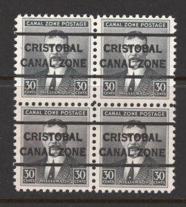 Canal Zone 1928 COL Williamson 30c Scott # 113 MNH Block of  4 Precancel