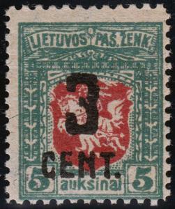 Lithuania Scott 122 (1922) Mint NH or VLH VF, CV $100-200.00