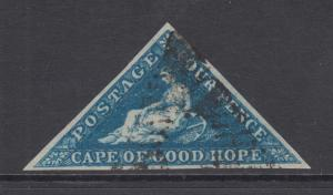 Cape of Good Hope Sc 2b, SG 2 used 1853 4p Hope Seated on blued paper, VF