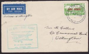 NEW ZEALAND 1932 West Coast survey flight cover Nelson to Wellington........2371