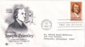 1983, Honoring Joseph Priestley, PCS, FDC (E12268)