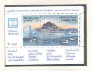 Greenland Sc 175 1987 HAFNIA '87 stamp souvenir sheet mint NH