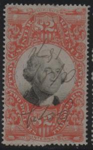US Revenue Stamp Scott #R145 VF+ With M/S Cancel, sound