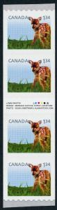 Canada 2606i Inscription Gutter Strip MNH Fawn, Baby Deer