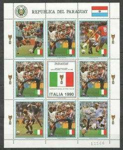 EC157 1989 PARAGUAY SPORT FOOTBALL WORLD CUP ITALY 1990  MICHEL 20 EURO 1KB MNH
