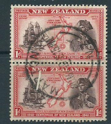 New Zealand SG 614  Used pair Marton cancel