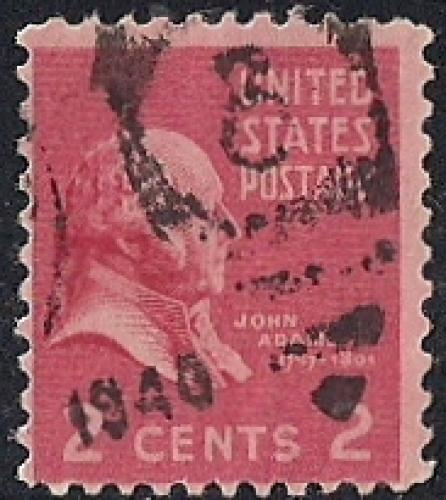 806 2 Cent FANCY CANCEL John Adams Stamp Used AVG
