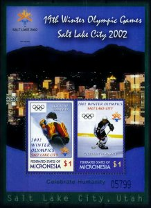 [101510] Micronesia 2002 Olympic winter games Salt Lake City luge Sheet MNH