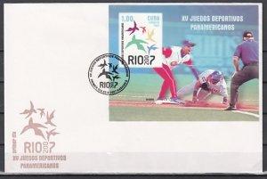 Cuba, Scott cat. 4727. Pan-American Games, Baseball s/sheet. First day covers. ^