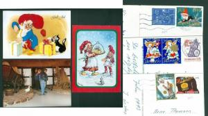Denmark. 3 Christmas Card With Seal/Stamps 1991-1992-1993. Santa,Mice,Cat,Geese.