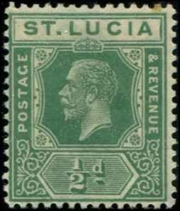 St Lucia SC# 76 KGV 1/2d MH with mount