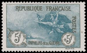 FRANCE B10 1917 5fr + 5fr DEEP BLUE & BLACK ORPHELINS MNH CV$4000 YT€5500