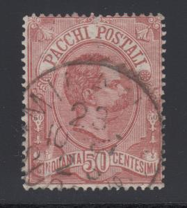 Italy Sc Q3 used 1884 50c claret King Humbert I Parcel Post, VF for issue