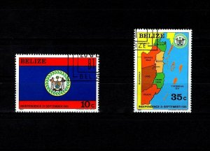 BELIZE - 1982 - INDEPENDENCE - ARMS - FLAG & MAP - 2 X CTO NH SINGLES!
