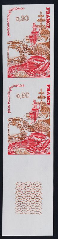 France 1696 imperf pair MNH French Cuisine, Food, Lobster