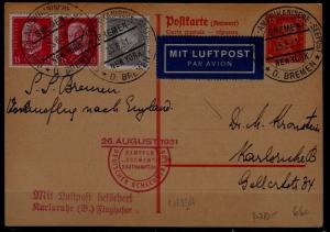 Germany Catapult card 26.8.31 Bremen-Southampton signed Gappe