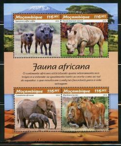 MOZAMBIQUE  2019 FAUNA OF AFRICA LIONS, ELEPHANT, RHINO, BUFFALO  SHEET MINT NH