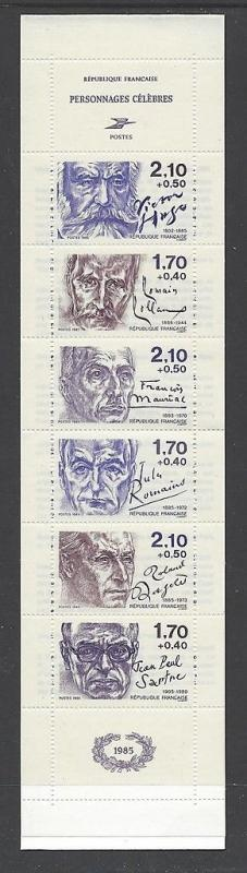 France 1985 Victor Hugo Sartre Booklet VF MNH (B572a)