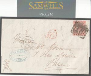 MS216 1866 GB SCOTLAND *Ardrossan* Numeral *15* Ayrshire 4d Rate Cover France