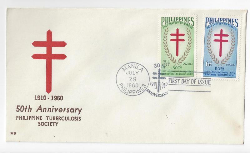 Philippines FDC 1960 TB 50th Anniv Sc# 819 820 Tuberculosis