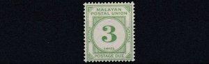 MALAYAN  POSTAL UNION  1945 - 51     S G D8  3C  GREEN     MH