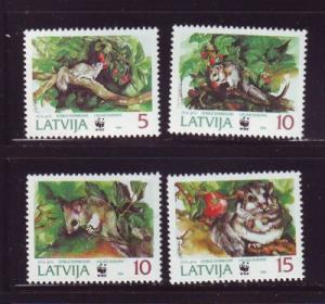 Latvia Sc 381-4 1994 Doormouse WWF stamps mint NH