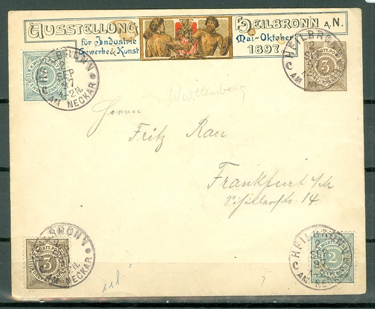 WURTTEMBERG 1897 HISTORICAL COVER..VERY NICE