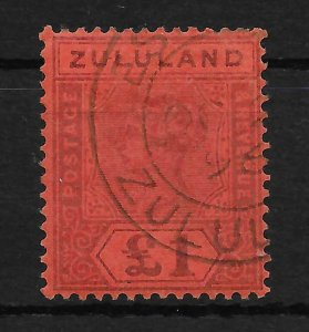 ZULULAND SG28 1894 £1 PURPLE ON RED USED
