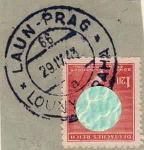 BÖHMEN u. MAHREN 1943 LAUN-PRAG / LOUNY-PRAHA TPO n°66a bilingual CDS on Mi.96