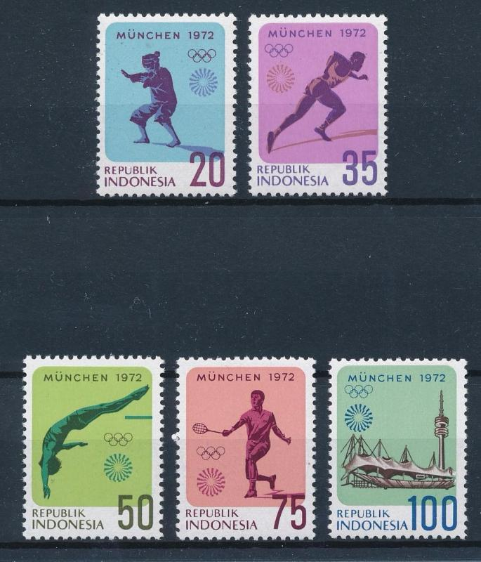 [55079] Indonesia 1972 Olympic games Munich Judo Tennis Diving Athletics MNH