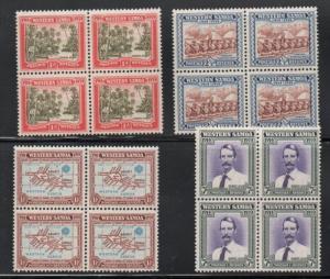 Samoa Sc 181-84 1939 N.Z control stamp set blocks of 4 mint NH