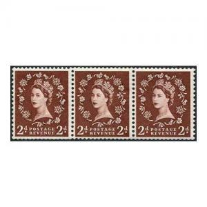 S36g 2d Red Brown Tudor Wmk U/M Coil Strip 3 with Extra Leg to R Flaw (ebay)