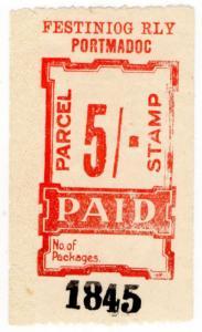 (I.B) Festiniog Railway : Parcel Stamp 5/- (Portmadoc)