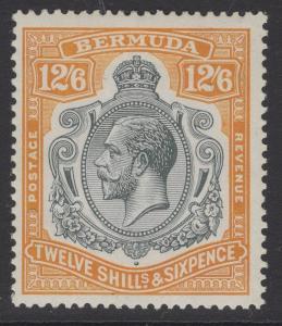 BERMUDA SG93b 1932 12/6 GREY & ORANGE BROKEN CROWN & SCROLL MTD MINT