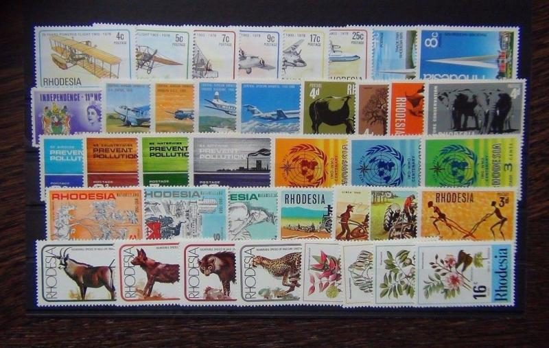 Rhodesia 1965 1978 sets Wildlife Matabeleland Pollution Paintings Plough MNH