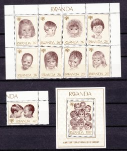 Z2966 1979 rwanda set mnh + s/s blk/8 #923-5 year of the child