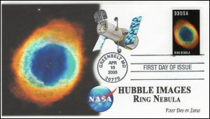 AO-3385, 2000, Hubble Images, First Day Cover, Add-on Cachet, Ring Nebula.