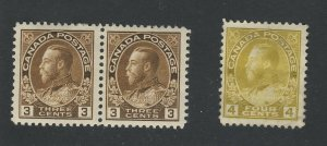 3x Admiral Canada stamps #108-3c Pair MH VF #110-4c MH Thin Guide Value= $130.00