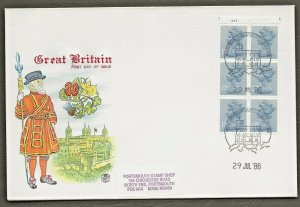 29/7/1986 £1.00 DISCOUNT -MUSICAL INSTRUMENTS -VIOLIN CYLINDER NO. BOOKLET FDC