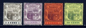 MAURITIUS 1904-07 A Watermark Multiple Crown CA Part Set SG 164 to SG 174 MINT