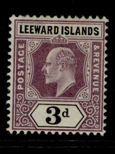 LEEWARD ISLANDS EDVII SG33, 3d purple & black, LH MINT. Cat £25. MULT CROWN WMK