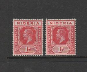 Nigeria 1914/29 1d Both listed shades sG 2 & 2a MM but