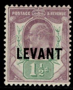 BRITISH LEVANT EDVII SG L3a, 1½d pale dull purple/green M MINT. Cat £25. CHALKY