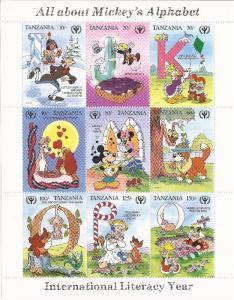 Tanzania - 1990 Mickey's Alphabet - 9 Stamp Sheet - 20E-076